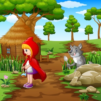 Little girl red hooded scouted wolves