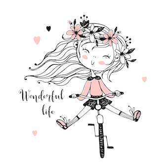 A little girl rides a bicycle.  illustration.