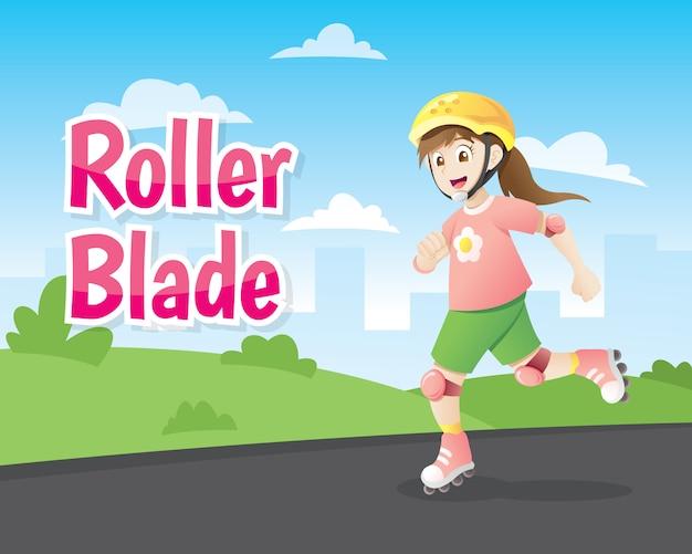 Little girl roller blading