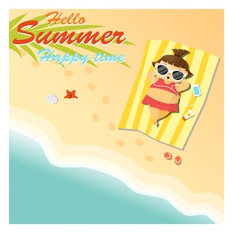 Little girl say hello to summer happy time
