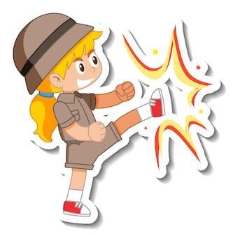 Маленькая девочка-скаут мультяшный персонаж стикер
