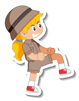 Little girl scout cartoon character sticker