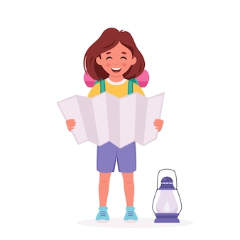 Little girl scout with backpack and map camping summer kids camp