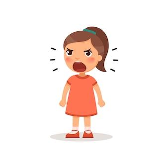 叫んでいる小さな女の子。漫画のスタイルのベクトルイラスト