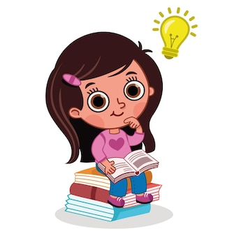 Little girl searching for a good idea from the books vector illustration