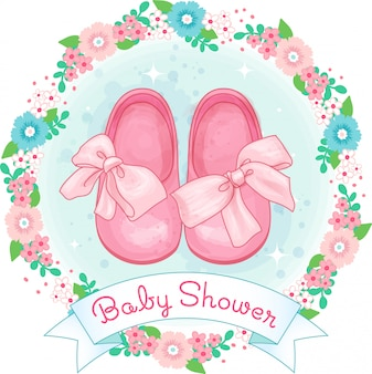 Little girl shoes, baby shower with bow and flower wreath