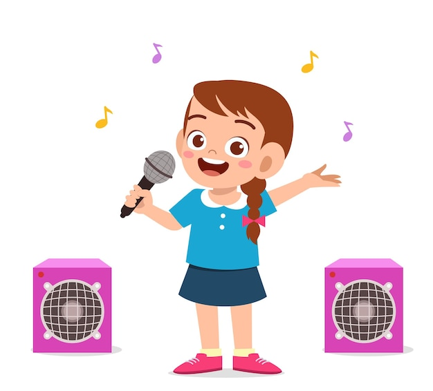 어린 소녀는 무대에서 아름다운 노래를 노래