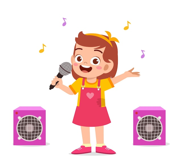 Little girl sing a beautiful song on stage