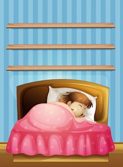 Маленькая девочка, спать в постели