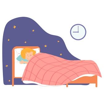 그녀의 침대에서 자고있는 어린 소녀 포스터 만화 스타일 캐릭터에 대한 벡터 일러스트 레이 션