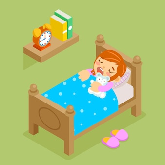 Little girl sleeping teddy bear. isometric 3d comfortable bedroom, rest bedtime.