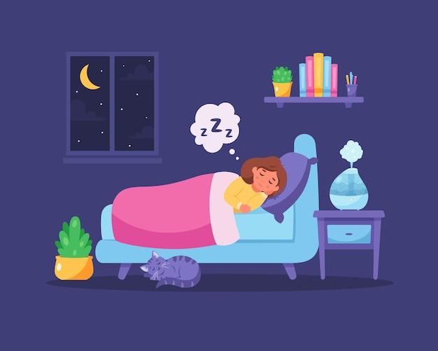 방에서 가습기로 자는 어린 소녀 건강한 수면