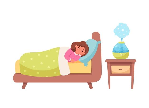 방에서 가습기를 가지고 자는 어린 소녀 건강한 수면