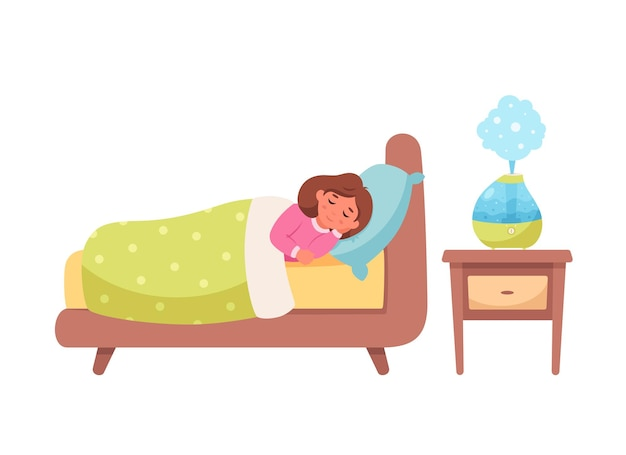 Little girl sleeping with air humidifier in room healthy sleep