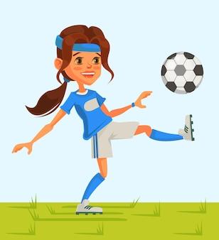 Маленькая девочка футбольный персонаж играет в футбол. мультфильм