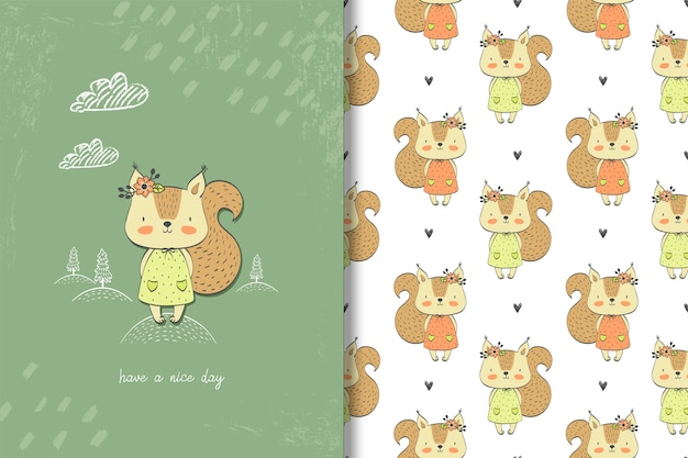 Little girl squirrel card and seamless pattern