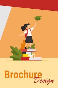 책 더미에 서있는 어린 소녀. 연구, 학교, 학생 평면 벡터 일러스트 레이 션. 배너, 웹 사이트 디자인 또는 방문 웹 페이지에 대한 교육 및 지식 개념