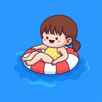 プールの漫画イラストで泳ぐ少女
