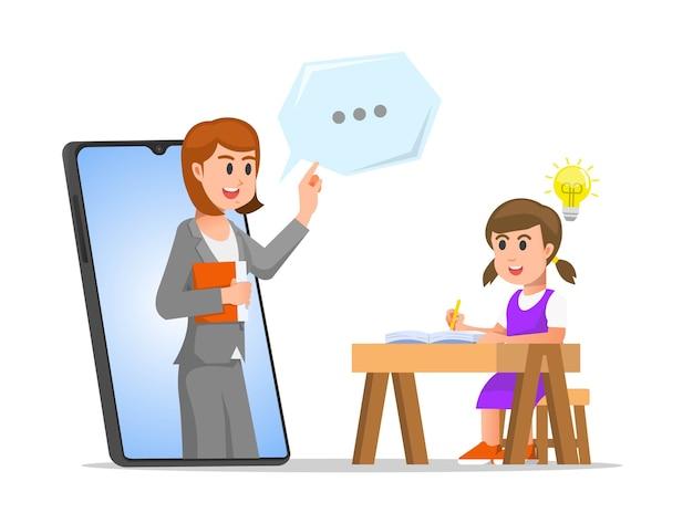 A little girl taking an online class