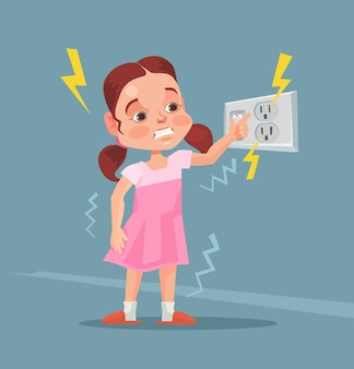 Little girl touching covered socket.