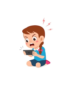 Little girl using mobile phone and angry