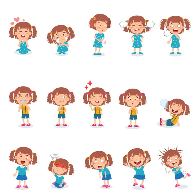 Little girl in various poses with gestures and expressions.
