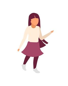 通りを歩く少女フラットカラー顔のないキャラクター