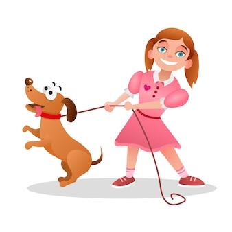 Маленькая девочка гуляет с собакой. счастливая девушка в розовом платье держит таксу на поводке. мультипликационный персонаж