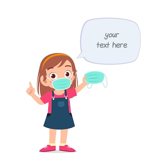 Little girl wearing mask and warn about virus illustration