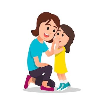 少女は母親に何かをささやきます