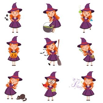 小さな女の子の魔女が紫色のドレスと帽子を着て設定