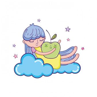 Little girl with apple kawaii character
