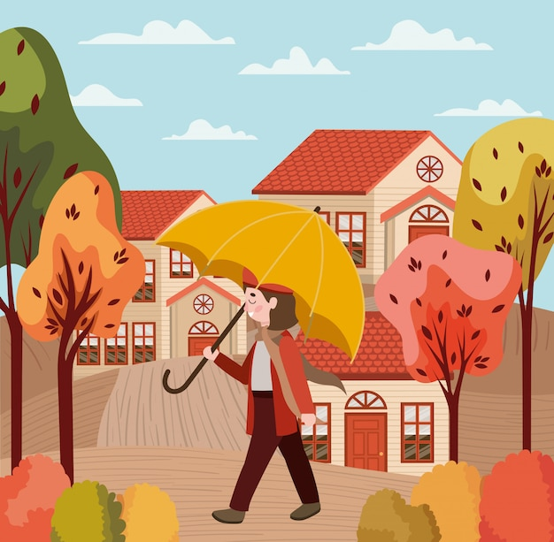 Little girl with autumn suit in the city character