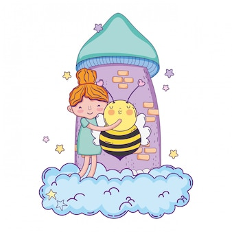 Little girl with bee kawaii character