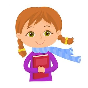 本とスカーフを持つ少女