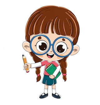 Little girl with a book and a pencil.