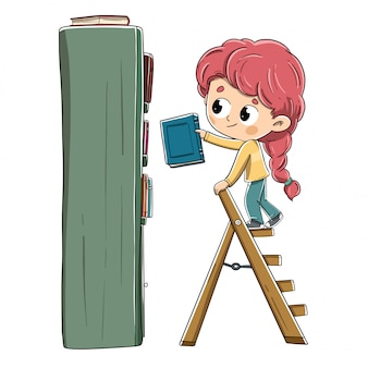 Little girl with a book placing it on the bookshelf
