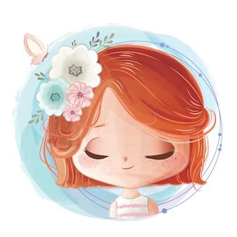 彼女の頭の上に花の束を持つ少女