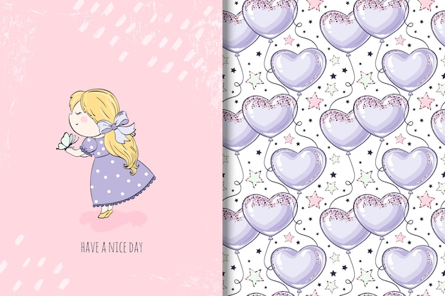 Little girl with butterfly illustration and seamless pattern with balloon
