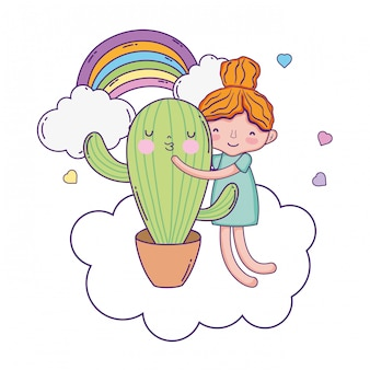 Little girl with cactus kawaii character