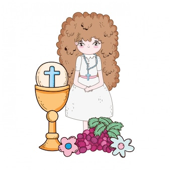 Little girl with chalice in first communion celebration