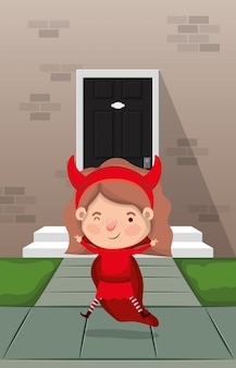Little girl with devil costume in house entrance character