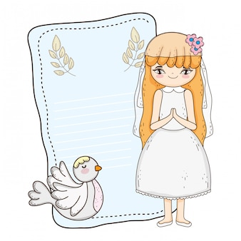 Little girl with dove in first communion celebration