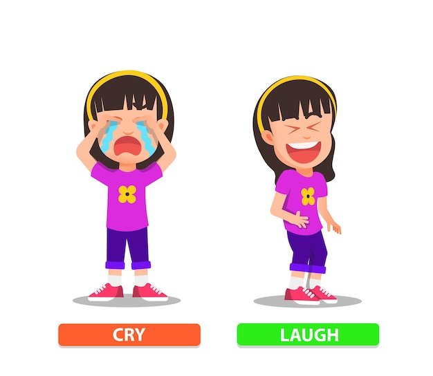 A little girl with an expression while crying and laughing