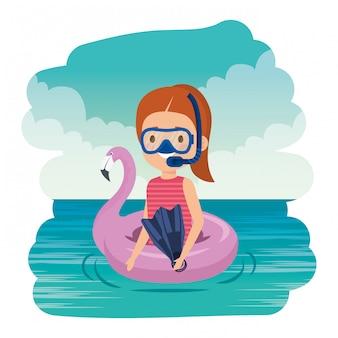 플랑드르 플 로트와 스노클링 바다에 어린 소녀
