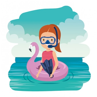 Little girl with flemish float and snorkel on the sea