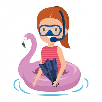 Little girl with flemish float and snorkel