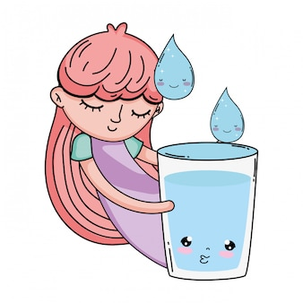 Little girl with glass water kawaii character