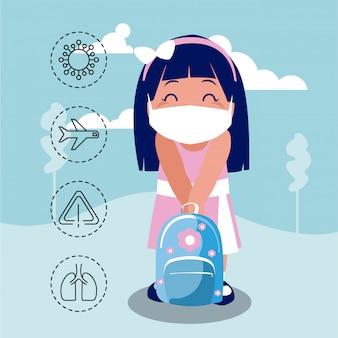 コロナウイルス保護と症状のアイコンを持つ少女