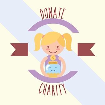 かわいい瓶のコインが慈善団体のラベルを寄付している少女